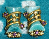 Vintage Earrings, Gold tone, Teal, Pearls, Clip Earrings, Unique, Cappola E Toppo Style