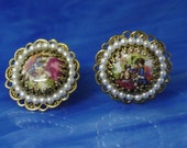 Vintage Cameo Earrings, Hand Painted Porcelain, Gold tone Filigree, Clip-on, White Pearls,  50's, Hallmarked Japan