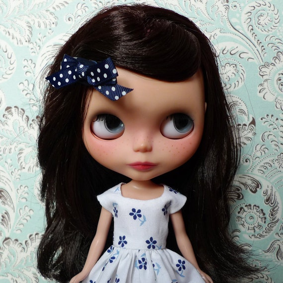 SALE % White and Blue Flowers Dress for Blythe, Pullip