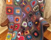 SALE Traditional Granny Square Afghan in Fun Colors with a Gray Border