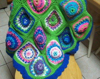 Multicolor Funky Colorful Crochet Lap Blanket