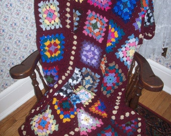 Traditional Granny Square Afghan in Fun Colors with a Maroon Border