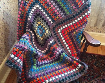 Mosaic Granny Square Afghan in Grey and Bright Colors Handmade
