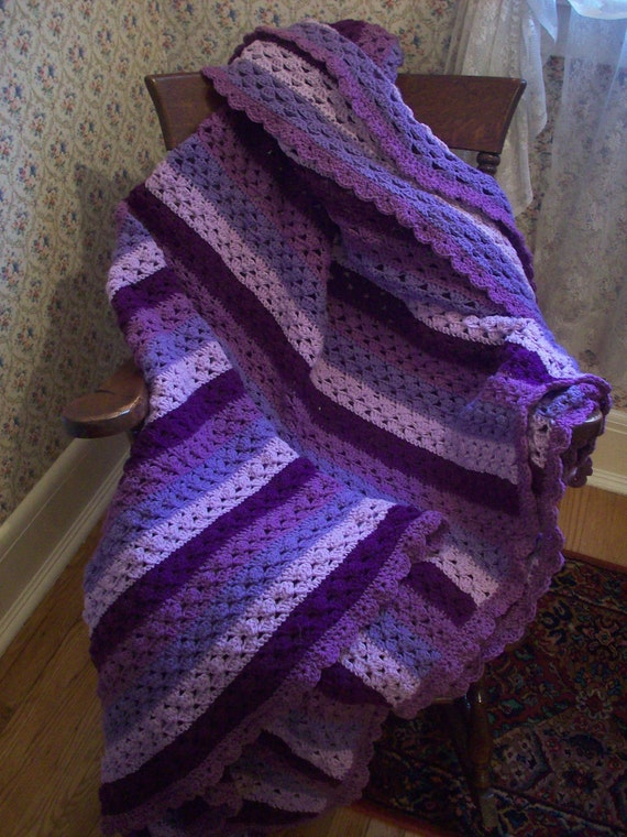SALE 20 OFF Striped Purple Crocheted Afghan with Scalloped Edgework