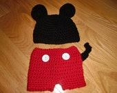 Newborn Mickey Mouse hat and diaper cover set