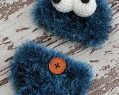 Baby Cookie Monster beanie hat and diaper cover set