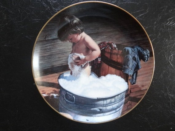 1980s 'Clean as a Whistle' Danbury Mint plate with little cowboy .Price includes shipping.