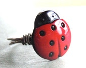 Ladybug Button Wire Wrapped Ring