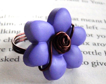 Flower Button Wire Wrapped Ring - Medium