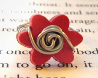 Flower Button Wire Wrapped Ring - Small