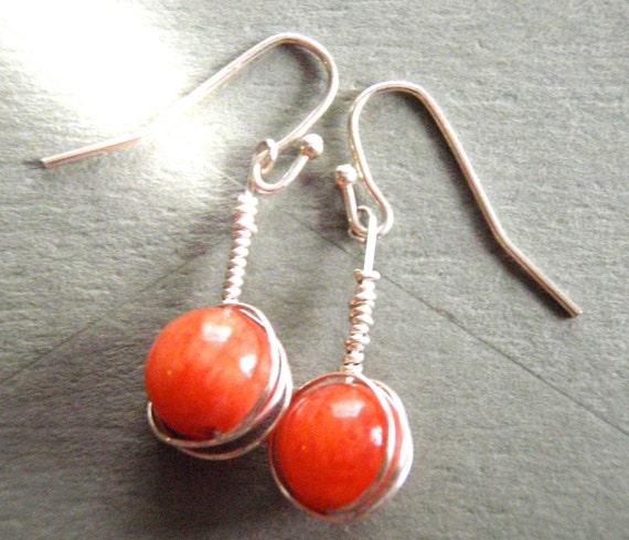 Orange Jade Sterling Silver Wire Wrapped Earrings