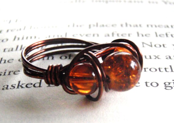 Orange Triple Bead Wire Wrapped Ring