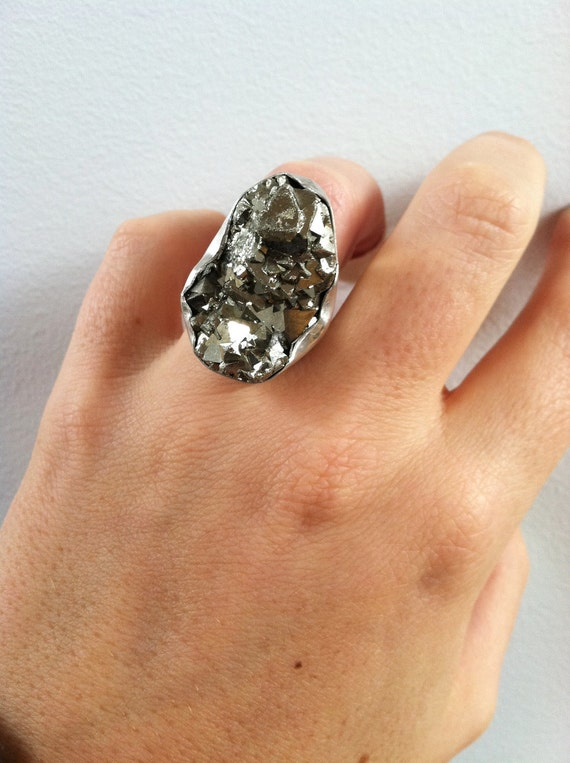 Pyrite Chunk and Sterling Silver Ring-Sale
