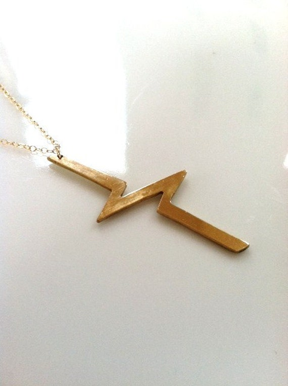 Long Brass Break Line Gold Filled Chain Necklace