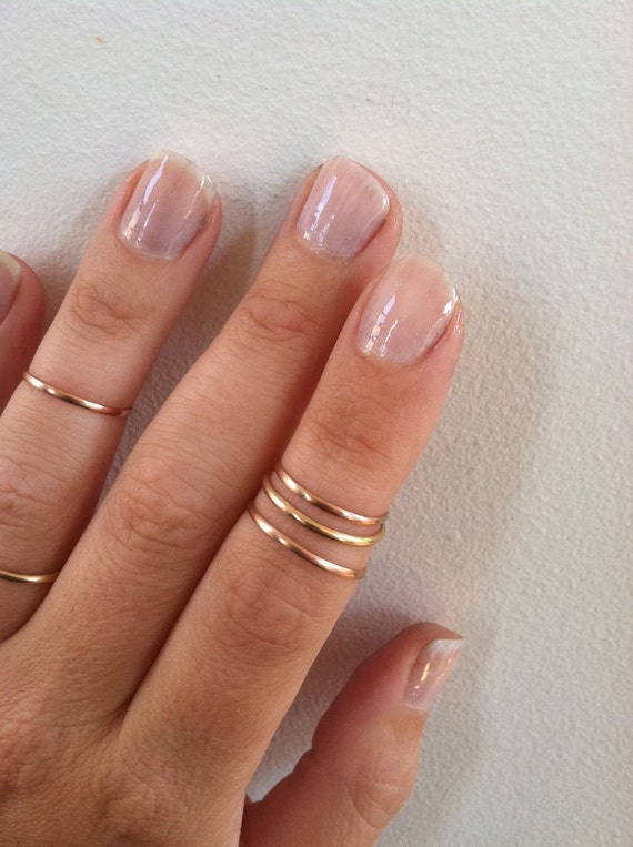 Set of 3 Above the Knuckle Rings- 14K Rose Gold Skinny Knuckle Rings, Stacking Rings, Midi Rings