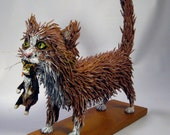 Mama Cat Kitten Sculpture - Made with upcycled materials by Benbrook