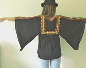 Black Gypsy Top  //  70s Boho Embroidered Tunic Top  //  Witchy Hippie Shirt  Flutter Sleeves Heavy Embroidery