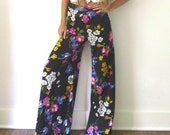 Floral Palazzo Bell Bottom Pants  //  Bright Wide Leg Pants  //  Bold High Waist Bellbottom Pants