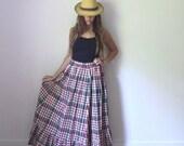 Vintage RALPH LAUREN Maxi Skirt  //  Summer Cotton Gingham Long Skirt  //  Boho Ruffle Plaid Full Skirt  //  4th of July American Americana
