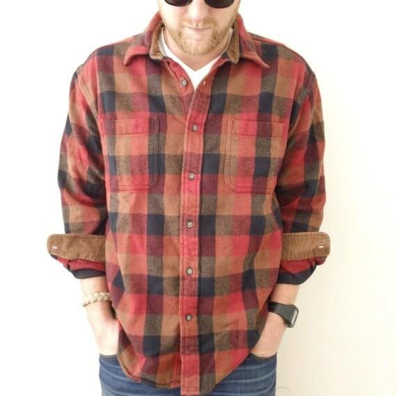 Rust plaid heavy flannel shirt brown corduroy by jacknboots for Heavy plaid flannel shirt