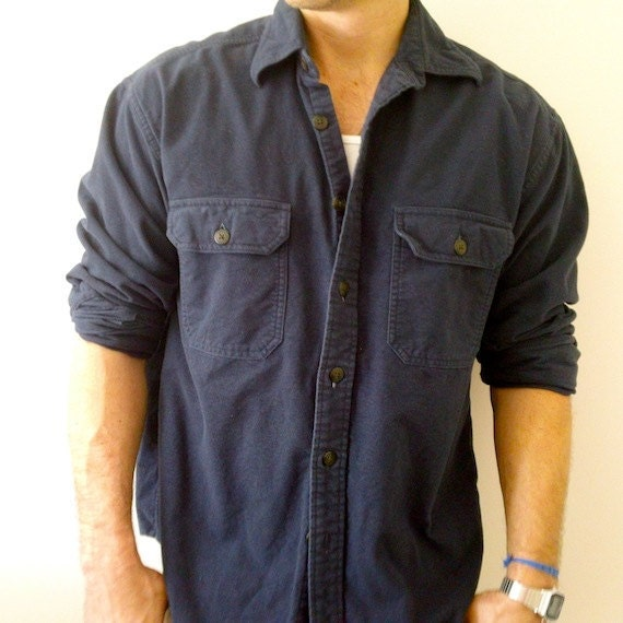 items similar to heavy navy flannel shirt thick flannel