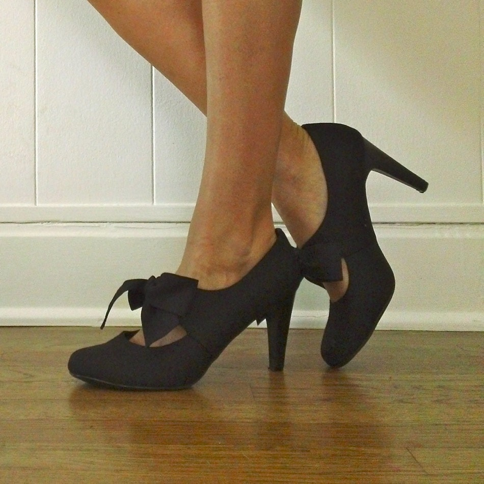 Mary Jane Pumps Bow Tie Black Pump Heels By Jacknboots
