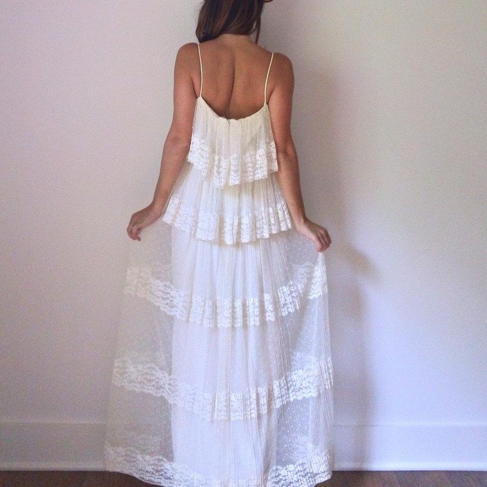 Cream Wedding Gown: Ivory Lace Wedding Dress // 70s Cream Boho Pleated By