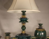 """Table lamp ceramic in peacock green, sapphire and sunshine yellow. 27"""" tall."""