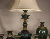 """Table lamp ceramic 27"""" in peacock green, sapphire and sunshine yellow"""