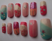 """Handpainted One of a Kind Acrylic Nails """"Sweet Art"""" SIZE A"""