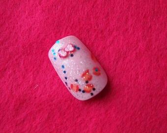 "SALE! 3d Japanese Style Blushing Pink nails ""Birthday Kiss"" SIZE B"