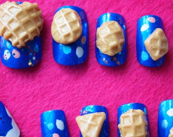 "SALE! 3D Japanese style Electric Blue nails ""Waffle Cone"" SIZE A"