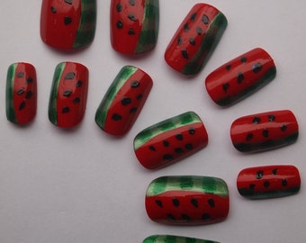 """SALE! Juicy & Sweet Handpainted Acrylic Nails """"Watermelon"""" SIZE A"""