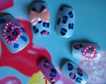 "SALE! 3d Japanese Style Handpainted Leopard Nails ""Party Girl "" SIZE B"