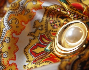 Vintage gold and pearl scarf clip (for scarf, sweater, lapel, shawl, etc )