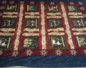 """Twin Quilt Meowy"""" Christmas  - SALE price - Reserved for Mary Theresa"""