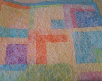 Crib Quilt Batik Baby Blocks