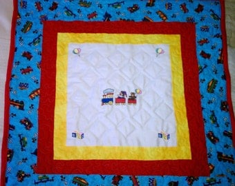 Crib Quilt with Embroidered Train SALE SALE SALE