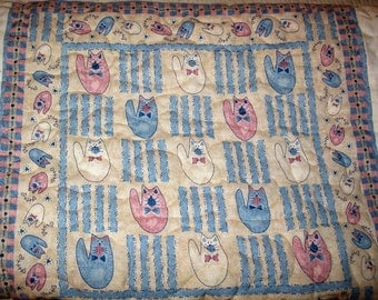 Crib quilt Cuddly kittens Baby Quilt - Reduced Price