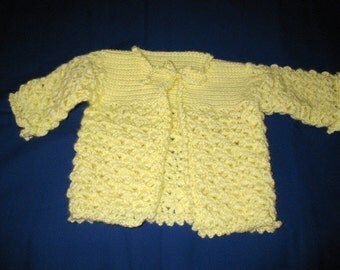 Lacy Yellow Baby Sweater