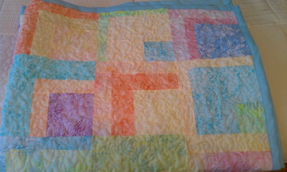 Crib Quilt Batik Baby Blocks