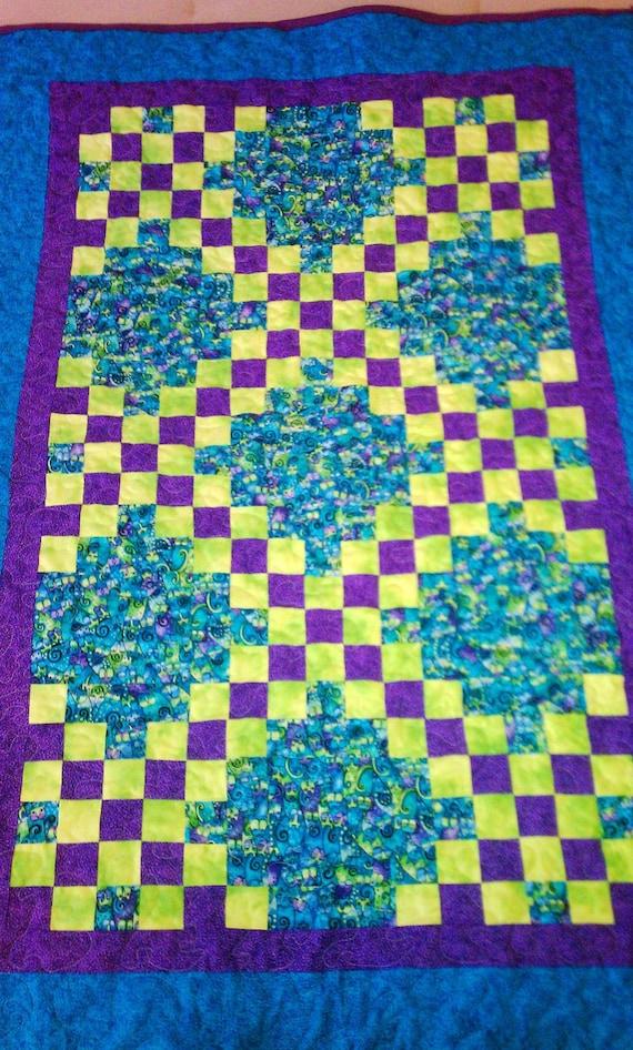Lap Quilt Irish Chain in beautiful Aqua, Purple and Apple Green - SALE price