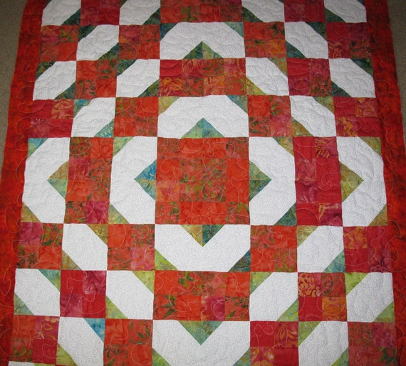 "Lap Quilt Vibrant 36"" X 52"" Train Track Design SALE SALE SALE"
