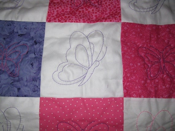 """Crib Quilt - Pink and Purple Butterflies 42"""" X 48"""""""