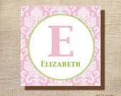 "18x18"" gallery wrapped canvas custom initial and name NURSERY or KIDS room art"
