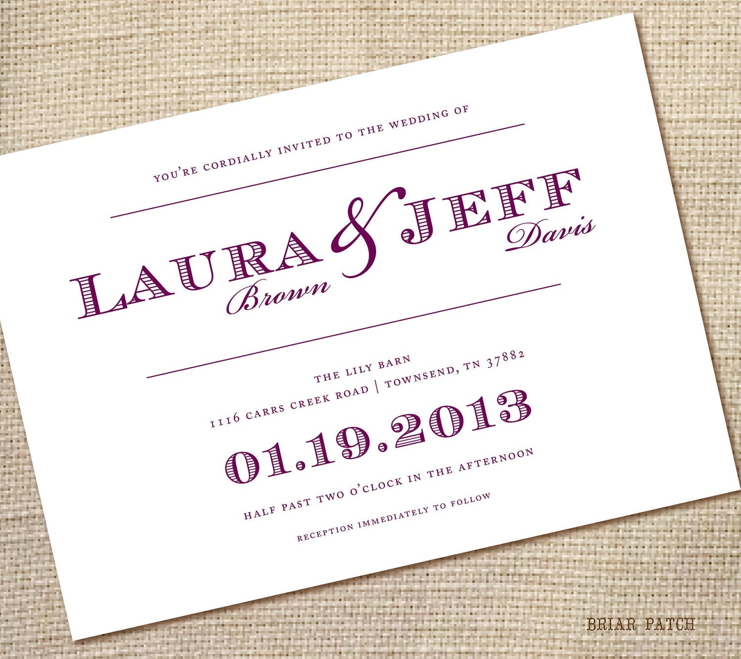 Simple Wedding Invitations: Simple Wedding Invitations Purple 5x7 Pdf By Briarpatchdesigns