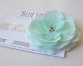 Baby Headband, Mint Flower with Rhinestone Center on Vintage White/Cream Band