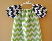 Green & Navy Chevron  Peasant Dress Size 18 Months