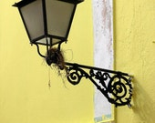 CAST IRON HOME - Abstract architecture 8x10 home living room decor fine wall art photography print (pastel yellow & black street light )