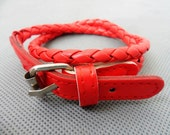 Easter gift  Adjustable Red leather Woven Bracelets/Red Bracelet  179S